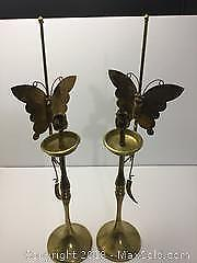 2 Tall Brass Candle Holders. 21 Inches Tall