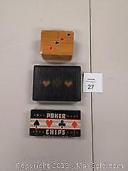 Vintage 3 Piece Collection Poker Set -including Playing Card Cases and Complete Poker Chip Set. - A