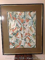 Pair large framed abstract painting. Oil on paper.