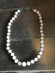 Antique Rose Quartz Necklace with Sterling Silver Clasp Pickup B