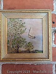 Vintage Oil Painting Of A Sail Boat