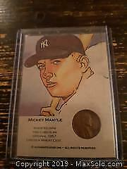 1 Vintage Mickey Mantle 1957 Lincoln Wheat Cent in Card