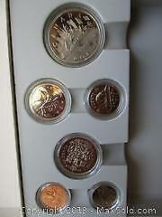 1984 Royal Canadian Mint Box Set. Canoe Silver Dollar Currency Set. Penny To The Dollar Coin.