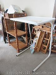 Shelving Unit And Plastic Table, Small Cabinet A