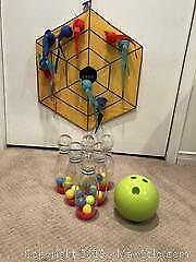 Kids Toy Dart Board and Bowling Set - A