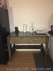Side Table With Glass Covered Top