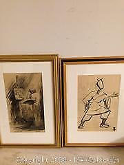 Two watercolour drawings one dated 1943 signed with artists monogram.