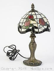 Leaded Stained Glass Floral Metal Table Lamp