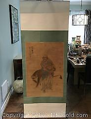 CHINESE SILK SCROLL FIGURE WITH TIGER