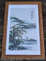 Large Framed Chinese Silk Embroidery Behind Glass - Man With Pole In Boat