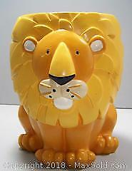 Heavy Vintage Figural Lion Wastepaper Basket / Planter / Toy Storage - B