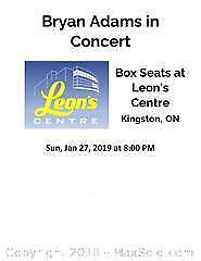 Bryan Adams in Concert at Leon's Centre - Private Box and Tickets for 11