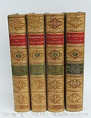 Antique Leatherbound Gilded Books, Shakespeare 1874, Cowden and Clark edition, 4 Volumes