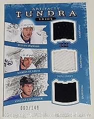 Triple Game Used Hockey Jersey Swatch Card
