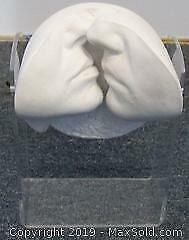 1988 Austin J. Cutrone Kissing Faces Sculpture on Lucite Stand