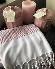 Lakeshore Designs Bundle 1 - 2 Canisters, Candle, Turkish Towel