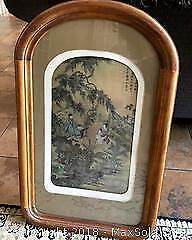 CHINESE LANDSCAPE WITH FIGURES IN OLD WOOD FRAME