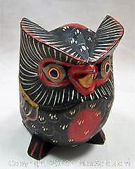 Vintage Hand Carved Wooden Painted Owl - B