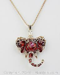 India Style Red Enameled Elephant with Gemstone Decor Necklace