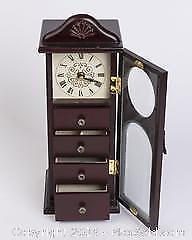 Dresser top Wooden Jewelry Box with Clock