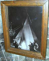 Poignant Wood Framed Black + White Historical Native Indian Campfire