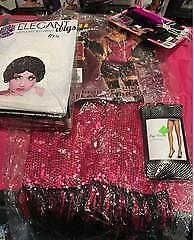 K & C Costumes All That Jazz/Wig/Headpiece/Stockings - Sz XL