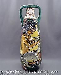 Large Vintage MCM Mid-Century Modern ERIK PLOEN Norway Vase Stylized Nude and Deer -A