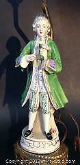 Figure of 18th century man lamp stand.