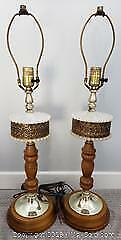 Milk Glass, Wood & Filigree Gold Table Lamps - Lot of 2