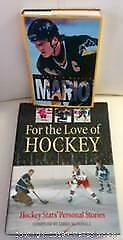 2 HOCKEY BOOKS, 1 COFFEE TABLE and 1 BIOGRAPHY, FOR THE LOVE OF HOCKEY and MARIO