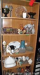 Mix of glassware and pottery shelf included if want it