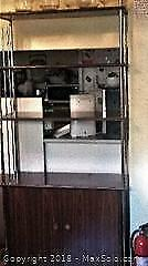 Mid-Modern Shelving Unit with Chrome Pole sides