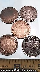 Antique King George Canadian Large Cent Pennies.