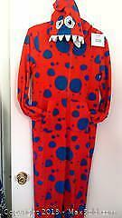 adult hooded red monster onesie pajama size small