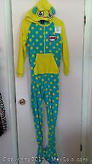 adult hooded yellow Rawr monster onesie pajama with feet, size X-small