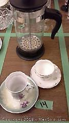 French Press Coffee Maker and 2 Demitasse Cups