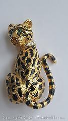Two Inch Leopard Gold Coloured With Green Eyes Brooch
