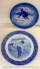 2 BLUE and WHITE COLLECTORS PLATES, ROYAL COPENHAGEN 1976 and RORFTRAND SWEDEN, 1973 FATHERS DAY