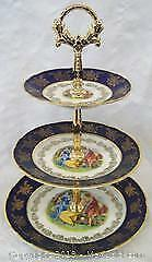Signed Carlsbad Czech Porcelain 3 Tier Cake Stand Maidens In Garden