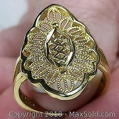 Size 9 Gold Tone Ring Stamped HB