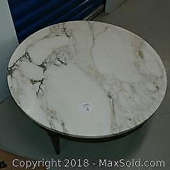 Marble topped wooden coffee table