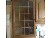 solid oak door kitchen cabinets with integral fridge and freezer