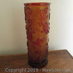 Chinese red and amber colour large carved art glass vase mythical creatures.