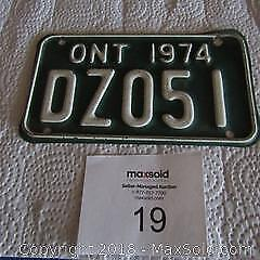 COLLECTIBLE - 1974 MOTORCYCLE LICENSE PLATE