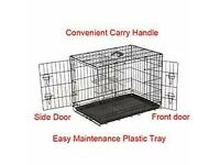 Dog Cage With Black Tray And Two Dog Beds