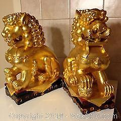 """Chinese pair of fine carved wood and gilded guardian lions, """"Foo dogs""""."""