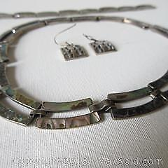 Silver and mother of pearl choker and bracelet, earrings