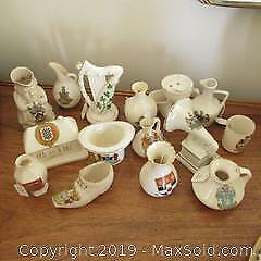 Collection of antique English bone china crested ware different town souvenirs. Many unique models , gramophone, top hat