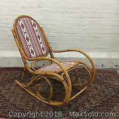 MCM Cane Reed Rocking Chair, Albini Style, Reupholstered Seat