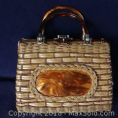 Vintage Lucite & Wicker Hand Bag - Made In Hong Kong For Atlas